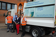 Cllr Alec Campbell, and Environmental Portfolio Holder, Cllr Frances Leonard, pictured with waste operatives, Derek Valerio (left) and Paul Lawrence (right) from the Council's waste contractor Veolia UK