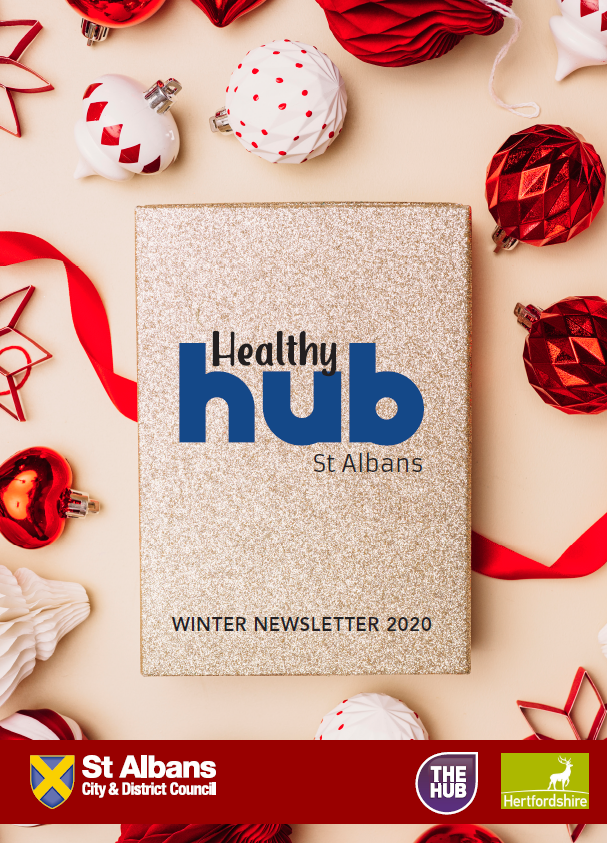 Festive first page of the St Albans District Healthy Hub Winter 2020 Newsletter