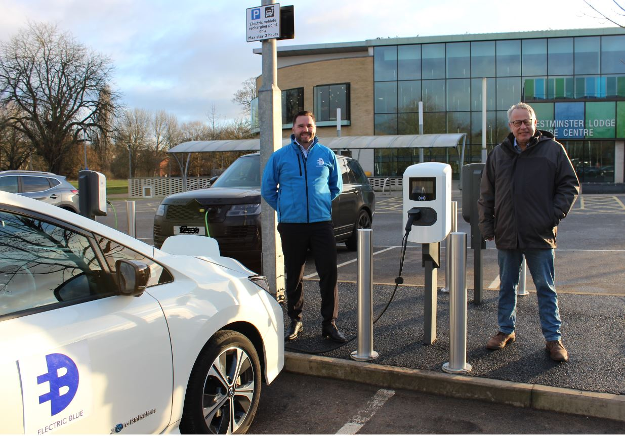 Cllr Chris White and Electric Blue CEO Dan O'Hara at the Westminster Lodge charging points