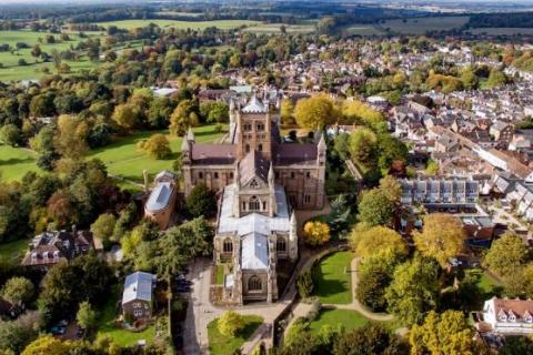 St Albans  Cathedral from the air