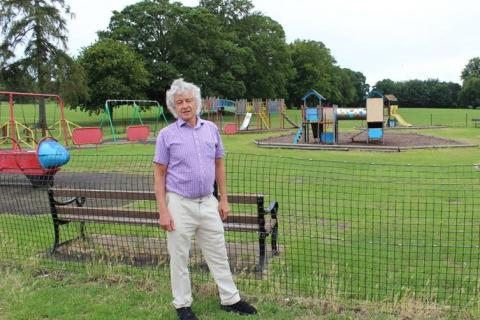 Councillor Rowlands inspects Verulamium Park playground